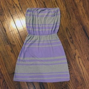 Old Navy Strapless Dress Gray Purple Stripe Small